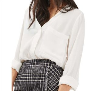 Topshop Vneck Button Down Blouse